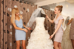 Women Shopping For Wedding Dress Royalty Free Stock Photo