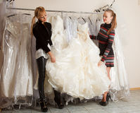 Women Shopping For Wedding Dress Stock Photography