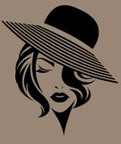 Women short hair with a hat, logo women face on brown background. Illustration of women short hair with a hat, retro logo women face on brown background Royalty Free Stock Photo