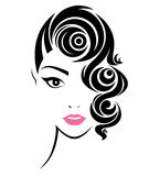 Women short hair style icon, logo women face. Illustration of women short hair style icon, logo women face on white background royalty free illustration