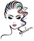 Women short hair style icon, logo women face on white background Royalty Free Stock Images