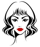 Women short hair style icon, logo women face on white background Royalty Free Stock Image