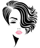 Women short hair style icon, logo women face on white background Royalty Free Stock Images