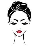 Women short hair style icon, logo women face on white background royalty free illustration