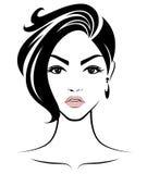 Women short hair style icon, logo women face on white background Stock Photos