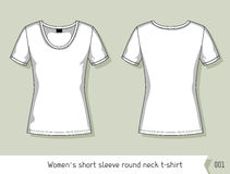 Women short sleeve round neck t-shirt. Template for design, easily editable by layers Royalty Free Stock Images