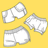 Women shorts. Women dress design.Fashion Flat templates Sketches Stock Photography