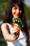 Women show a bouquet forget-me-not Royalty Free Stock Photography