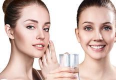 Women show useful properties of clean water. Royalty Free Stock Photo