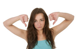 Women showing thumbs down Stock Images
