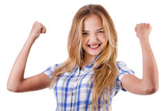 Women shows her success by raising hands Royalty Free Stock Photo