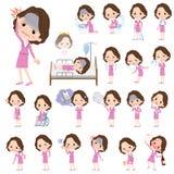 Women_sickness envelhecido do negócio do terno meio cor-de-rosa ilustração do vetor
