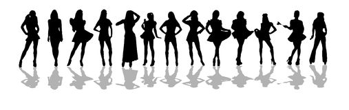 Women silhouette. D drawn in sexy poses on white Stock Image