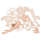 Women silhouette. Adho mukha svanasana. Downward dog. Royalty Free Stock Photography