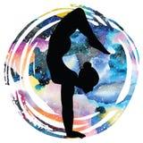 Women silhouette.Arm Balance Scorpion Yoga Pose. Bhuja Vrischikasana. Women silhouette on galaxy astral background. Arm Balance Scorpion Yoga Pose. Bhuja Royalty Free Stock Photography