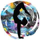 Women silhouette.Arm Balance Scorpion Yoga Pose. Bhuja Vrischikasana. Women silhouette on galaxy astral background. Arm Balance Scorpion Yoga Pose. Bhuja Stock Image