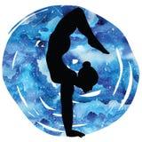Women silhouette.Arm Balance Scorpion Yoga Pose. Bhuja Vrischikasana. Women silhouette on galaxy astral background. Arm Balance Scorpion Yoga Pose. Bhuja Royalty Free Stock Photo