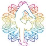 Women silhouette. Arm Balance Scorpion Yoga Pose. Bhuja Vrischikasana Royalty Free Stock Image