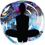 Women silhouette. Bound Angle yoga pose. Baddha Konasana Royalty Free Stock Photo