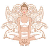 Women silhouette. Bound Angle yoga pose. Baddha Konasana Royalty Free Stock Photography
