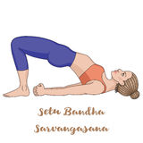Women silhouette. Bridge Yoga Pose. Setu Bandha Sarvangasana Stock Images