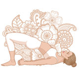 Women silhouette. Bridge Yoga Pose. Setu Bandha Sarvangasana Stock Image