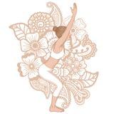 Women silhouette. Chair yoga pose. Utkatasana. Stock Photo