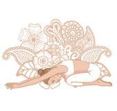 Women silhouette. Child s yoga pose. Balasana. Women silhouette on paisley mehndi ormanent background. Child s yoga pose. Balasana. Vector illustration Royalty Free Stock Photos