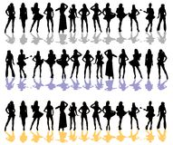 Women silhouette color. Women silhouetted drawn in poses on white vector illustration