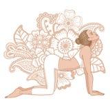 Women silhouette. Cow yoga pose. Bitilasana. Stock Photos