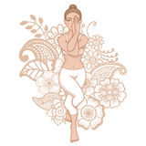 Women silhouette. Eagle yoga pose. Garudasana Stock Photos