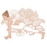 Women silhouette. The Equestrian yoga pose. Ashwa Sanchalanasana Royalty Free Stock Image