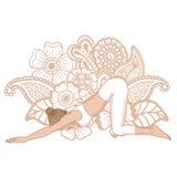 Women silhouette. Extended Puppy yoga pose. Uttana Shishosana Royalty Free Stock Photo