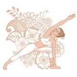 Women silhouette. Extended side angle yoga pose. Utthita Parsvakonasana Stock Photo