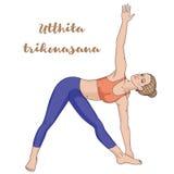Women Silhouette. Extended Triangle Yoga Pose. Utthita Trikonasana Royalty Free Stock Photography