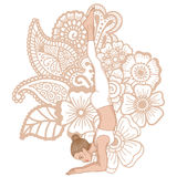 Women silhouette. Feathered peacock yoga pose. Pincha Mayurasana Royalty Free Stock Photography