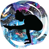 Women silhouette. Firefly yoga pose. Tittibhasana. Women silhouette on galaxy astral background. Firefly yoga pose. Tittibhasana Vector illustration Royalty Free Stock Image
