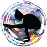 Women silhouette. Firefly yoga pose. Tittibhasana. Women silhouette on galaxy astral background. Firefly yoga pose. Tittibhasana Vector illustration Royalty Free Stock Photo