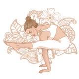 Women silhouette. Firefly yoga pose. Tittibhasana. Vector illustration Stock Photos