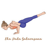 Women silhouette. Flying Pigeon yoga pose. Eka Pada Galavasana Stock Photo