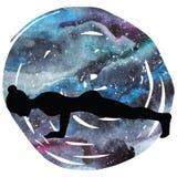 Women silhouette. Four-Limbed Staff Pose. Low Plank yoga pose. Chaturanga Dandasana Stock Image