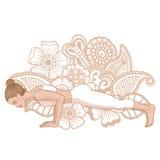Women silhouette. Four-Limbed Staff Pose. Low Plank yoga pose. Chaturanga Dandasana. Vector illustration Royalty Free Stock Image