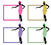 Women silhouette frame. Four different women silhouettes with frame stock illustration