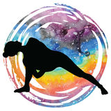 Women silhouette. Fully Bound Side Angle Yoga Pose Baddha Parsvokanasana. Women silhouette on galaxy astral background. Fully Bound Side Angle Yoga Pose Baddha Stock Image