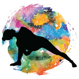 Women silhouette. Fully Bound Side Angle Yoga Pose Baddha Parsvokanasana. Women silhouette on galaxy astral background. Fully Bound Side Angle Yoga Pose Baddha Royalty Free Stock Photography