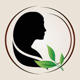 Women silhouette with green leaves. Illustration of female profile silhouette with green leaves near it Royalty Free Stock Image