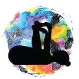 Women silhouette. Happy baby, dead bug yoga pose. Ananda Balasana Stock Images