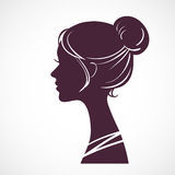 Women silhouette head. With beautiful stylized hairstyle Royalty Free Stock Photos