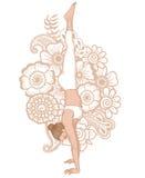Women silhouette. Headstand yoga pose. Adho Mukha vrksasana. Stock Photos