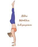 Women silhouette. Headstand yoga pose. Adho Mukha vrksasana. Stock Photo